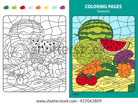 seasons coloring page for kids august month printable design coloring book coloring puzzle