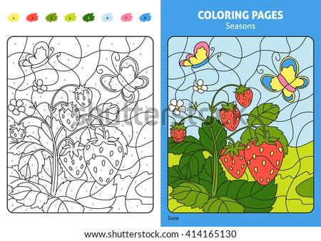 Number Names Worksheets printable numbers for kids : Seasons Coloring Page Kids August Monthprintable Stock Vector ...
