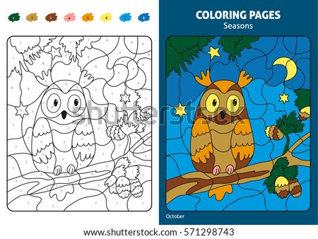Seasons Coloring Page For Kids Printable Design Book Puzzle With Numbers Of