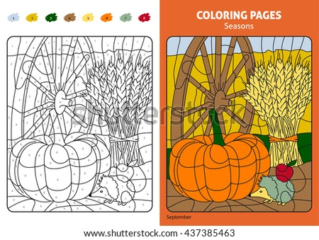 Seasons Coloring Page For Kids September Month Printable Design Book Puzzle