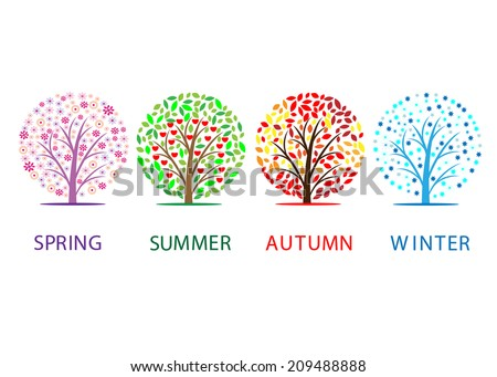 seasons. Four trees and words summer, spring, autumn  and winter - stock vector