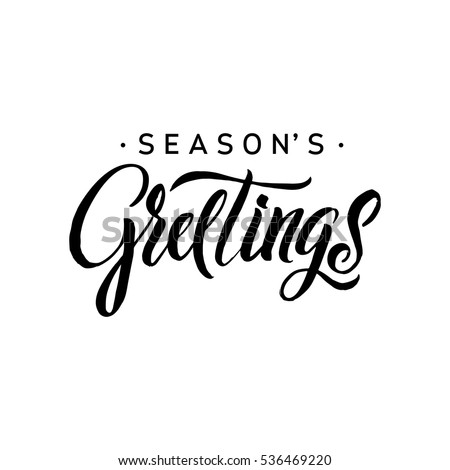 Seasons greetings calligraphy greeting card black stock vector seasons greetings calligraphy greeting card black typography on white background vector illustration hand drawn m4hsunfo