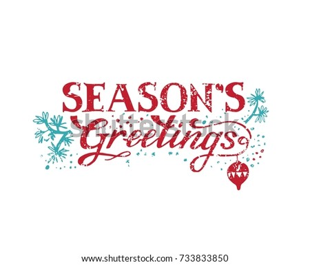 Seasons greetings hand lettering poster card stock vector 733833850 seasons greetings hand lettering for poster card or invitation vector illustration m4hsunfo