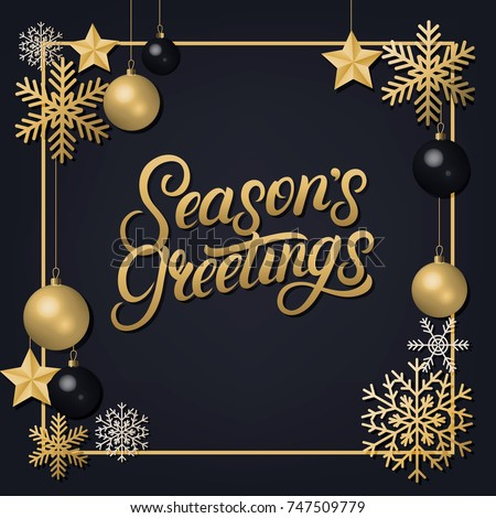 Seasons greetings 2018 hand written lettering stock vector 747509779 seasons greetings 2018 hand written lettering with golden decoration ornament frame with snowflakes and balls m4hsunfo
