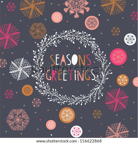 Seasons Greetings Print Design - stock vector