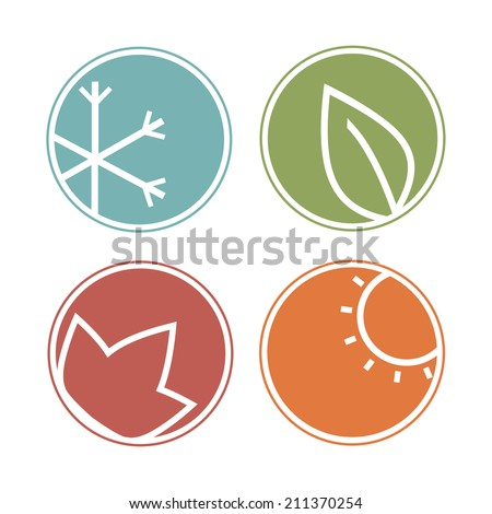 Seasons icons - stock vector