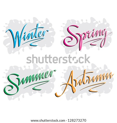 Seasons' Inscriptions Hand Lettering Set - stock vector