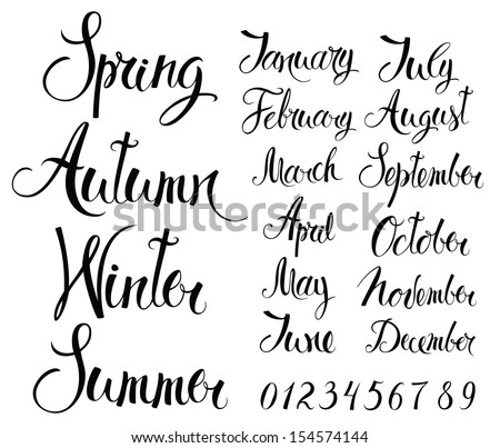 Seasons, months, and numbers - stock vector