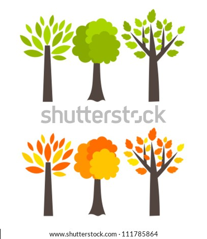 Seasons trees - spring and autumn. Vector illustration - stock vector