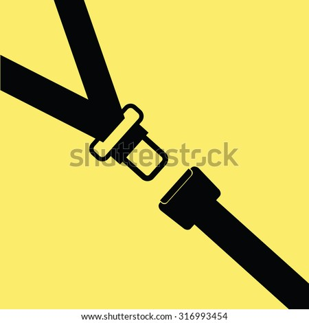 seat belt vector on yellow - stock vector