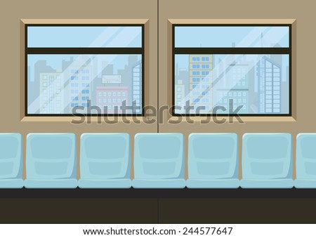seat inside metro city transportation, vector illustration