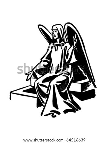 Seated Angel - Retro Clipart Illustration
