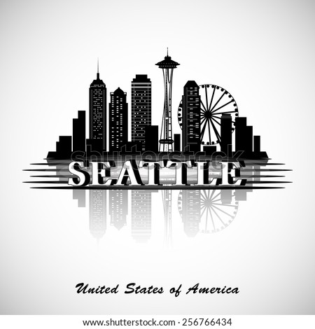 Seattle city skyline. Vector city silhouette - stock vector