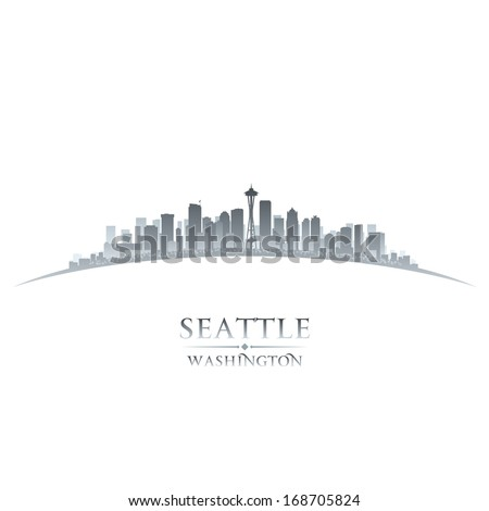 Seattle Washington city skyline silhouette. Vector illustration - stock vector