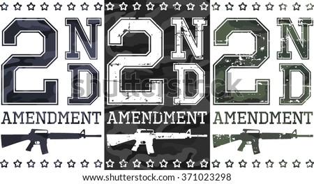 Second amendment (US constitution) artworks for t-shirt, posters... Camouflage and grunge textures. - stock vector