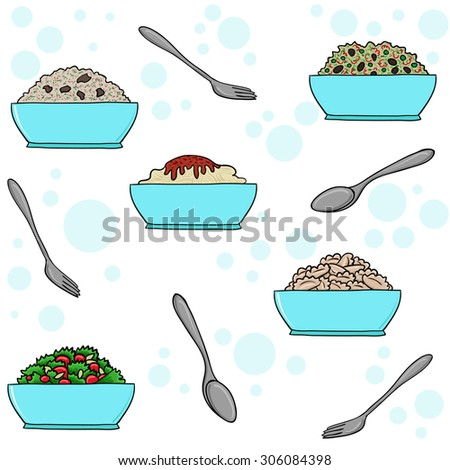 Second dishes - a full plate, vector pattern. Salads, rice and pasta