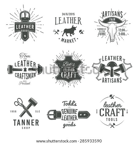 Second set of grey vector vintage craftsman logo designs, retro genuine leather tool labels. artisan craft market insignia illustration. - stock vector