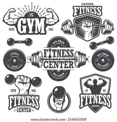 Second set of monochrome fitness emblems, labels, badges, logos and designed elements. - stock vector