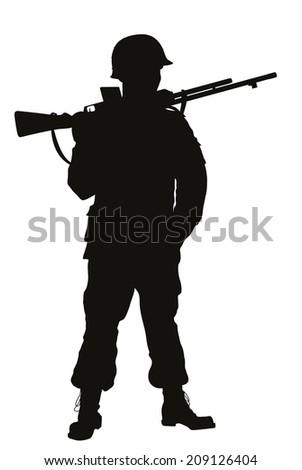 Second World War soldier with riffle detailed vector silhouette. EPS 8 - stock vector
