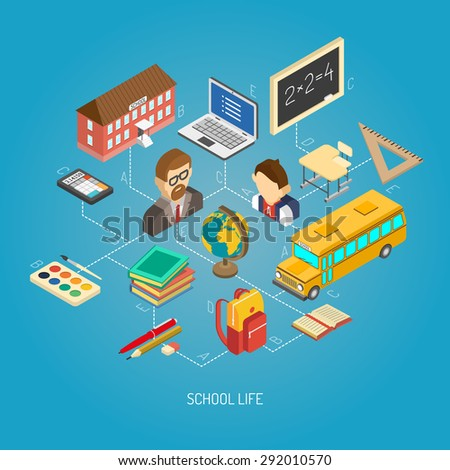 Secondary school daily life geography lesson situation concept isometric poster with terrestrial globe abstract vector illustration