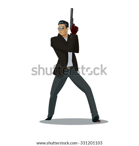 Secret agent. Posing on camera. Vector illustration