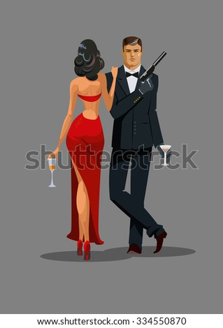 Secret Agent with gun and glass. Woman in red turned his back to us. Vector illustration - stock vector