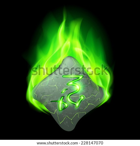 Secret bend stone with magic rune in green flame