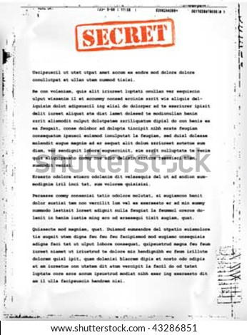secret document template - stock vector