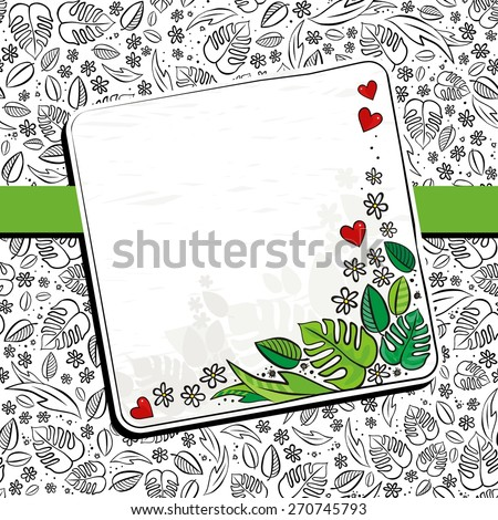 Secret Garden Monochrome Spring Summer Floral Seasonal Messy Card With Ribbon And Colorful Blank Note Place
