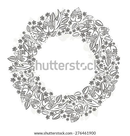 Secret Garden Wreath Monochrome Spring Summer Floral Seasonal Messy Card Centerpiece On White Background