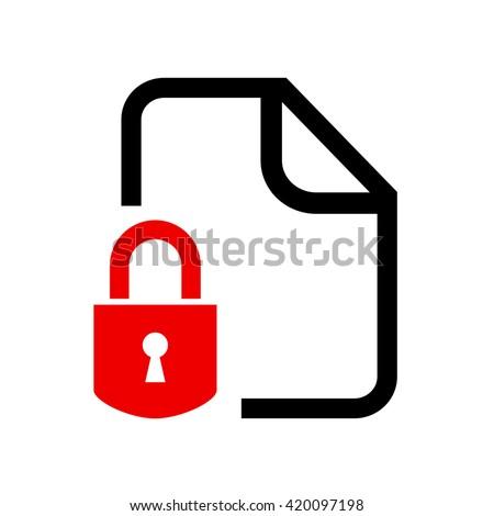 Secret locked document vector illustration isolated on white background - stock vector