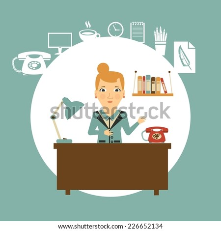 secretary on a workplace illustration - stock vector