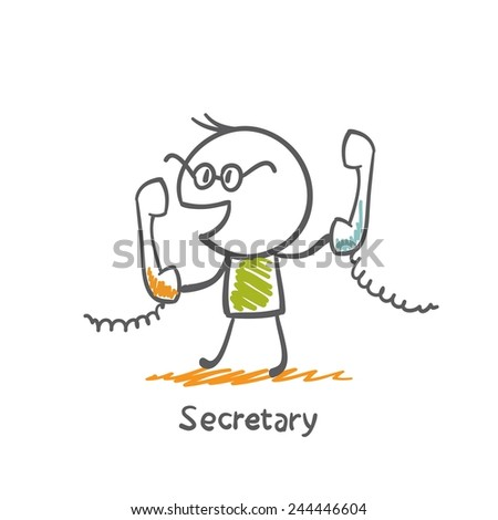 secretary talking on the phone illustration - stock vector