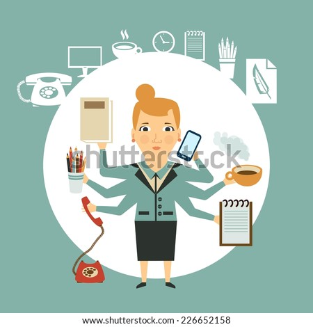 Secretary works hard illustration - stock vector