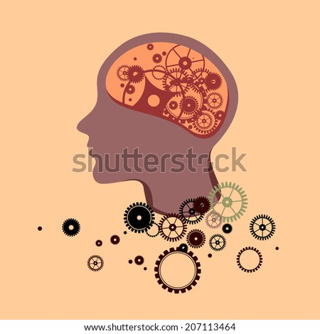 Section of a human head with gears fallen out, brain damage - stock vector