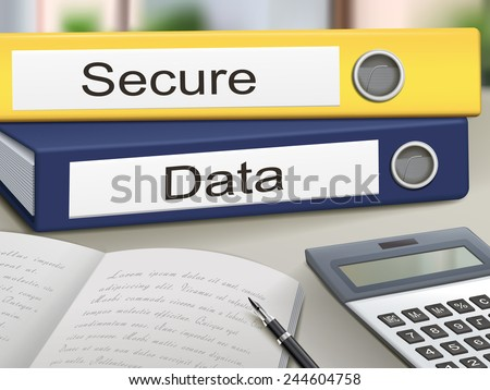 secure and data binders isolated on the office table - stock vector