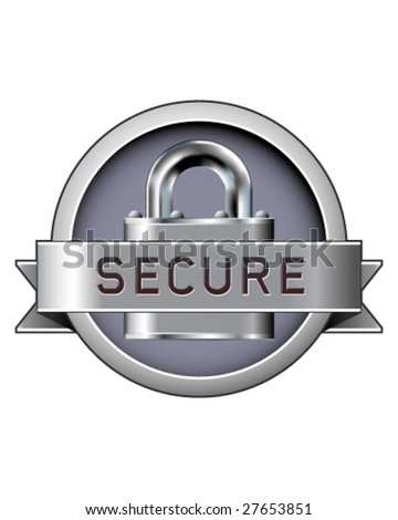 Secure badge with padlock in stainless steel vector - stock vector