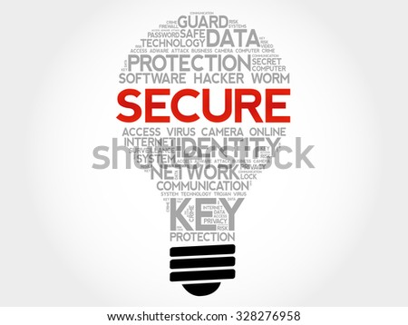 SECURE bulb word cloud, business concept - stock vector
