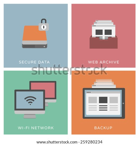 Secure data - set of flat design illustrations / icons - stock vector