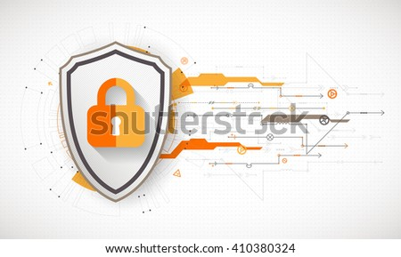 Secure digital background. Virtual confidential, programming protection. Vector illustration - stock vector