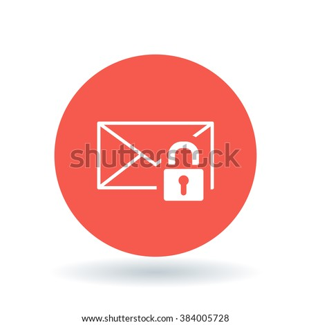 Secure email icon. Protected email with padlock sign. Encrypted SSL mail symbol. White icon on red circle background. Vector illustration. - stock vector