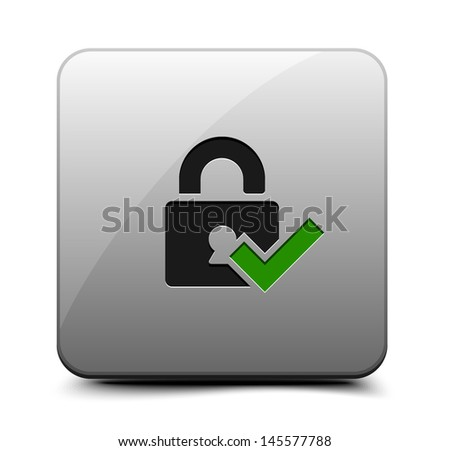 Secure Lock button - stock vector