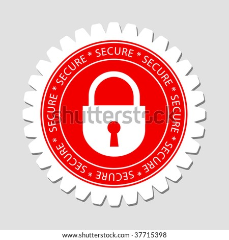 Secure Lock Sign Label - stock vector