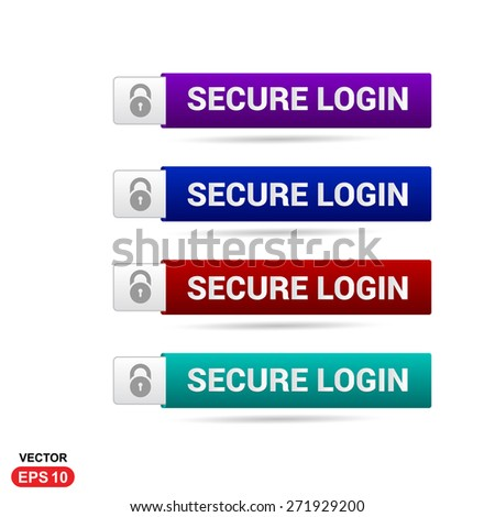 Secure Login Icon Button. Abstract beautiful text button with icon. Purple Button, Blue Button, Red Button, Green Button, Turquoise button. web design element. Call to action gray icon button - stock vector