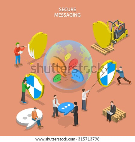 Secure messaging isometric flat vector concept. People are building global protected messaging system (instant messenger, social network etc.) - stock vector