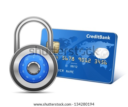 Secure Payment. Credit card and padlock. Vector illustration - stock vector