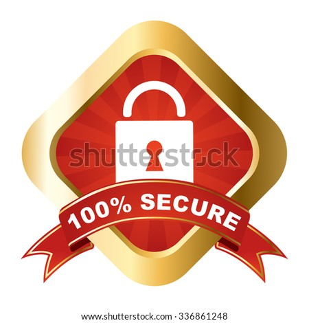 secure, red vector secure, gold vector secure, element secure sign secure, design secure, picture secure, illustration secure, secure eps10 - stock vector