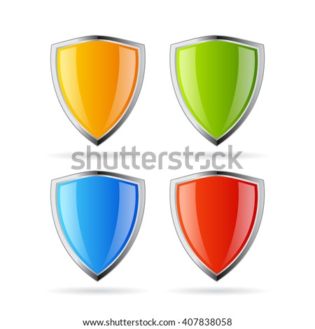 Secure shield icons set vector illustration isolated on white background - stock vector