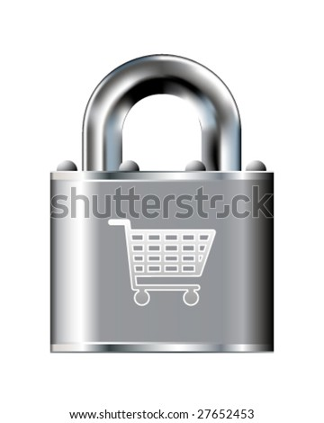 Secure shopping cart icon on stainless steel padlock vector button - stock vector
