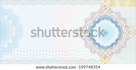 Secured Guilloche Background for Voucher, Gift Certificate, Coupon or Banknote / Vector - stock vector